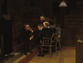 Fine Art - Painting, American:Antique  (Pre 1900), LOUIS CHARLES MOELLER (American, 1855-1930). Discussion in theLibrary. Oil on canvas. 25 x 32 inches (63.5 x 81.3 cm). ...
