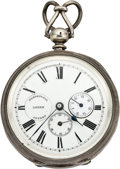Timepieces:Pocket (pre 1900) , August Von Loehr Patent Perpetual Wind Pocket Watch with PowerIndicator, circa 1880. ...