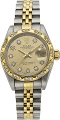 Timepieces:Wristwatch, Rolex Lady's Twotone Datejust with Diamond Dial and Bezel, circa1991. ...