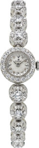 Timepieces:Wristwatch, Rolex Lady's Diamond, White Gold Integral Bracelet Wristwatch,circa 1950. ...