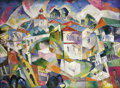 Fine Art - Painting, Russian, ARISTARKH VASILEVICH LENTULOV (Russian, 1882-1943). Cubist Cityscape. Oil on canvas. 37-1/4 x 50-1/2 inches (94.6 x 128....