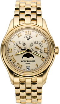 Patek Philippe Ref. 5036/1J-001 Men's Gold Astronomic Annual Calendar Wristwatch with Power Reserve Indicator, circa 200...