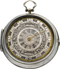 Timepieces:Pocket (pre 1900) , English Rare Verge with Differential Dial and Mock Pendulum, circa 1700. ...