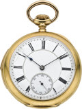 Timepieces:Pocket (post 1900), Swiss Gold Five Minute Repeating Pocket Watch, circa 1910. ...