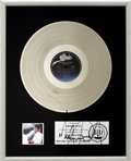 Music Memorabilia:Awards, Michael Jackson Signed Thriller RIAA Platinum Award....