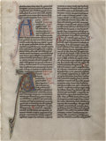Books:Manuscripts, [Bible in Latin]. [Illuminated Manuscript]. Single Manuscript Leaffrom Flemish Bible....