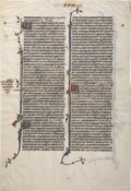 Books:Manuscripts, [BIBLE]. Single Manuscript Leaf from a Flemish Bible. [N.p.]:[circa 1300]. ...