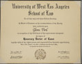 Movie/TV Memorabilia:Awards, Glenn Ford's Honorary Law Degree from UWLA....