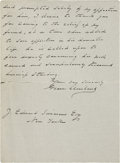 """Autographs:U.S. Presidents, Grover Cleveland Autograph Letter Signed. Two pages, 5"""" x 6.5"""",Princeton, November 3, 1907, thanking J. Edward Simmons of ..."""