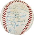 Autographs:Baseballs, 1977 Hall Of Fame Induction Ceremony Signed Baseball....