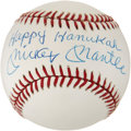 "Autographs:Baseballs, 1980's Mickey Mantle ""Happy Hanukah"" Single Signed Baseball...."