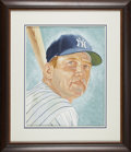 "Baseball Collectibles:Others, 2007 Mickey Mantle ""Topps Turkey Red Series"" Original Artwork byDick Perez...."