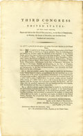 "Autographs:Statesmen, An Act of the Third Congress of the U.S. One page printed, 8"" x13.25"", Philadelphia, March 20, 1794...."