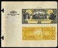 Large Size:Demand Notes, Republic of Hawaii $5 Gold Certificate 1895 Pick 6p Face and Back Proofs.... (Total: 2 notes)