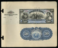 Large Size:Demand Notes, Republic of Hawaii $50 Silver Certificate 1895 Pick 14p Face andBack Proofs.... (Total: 2 notes)
