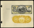 Large Size:Demand Notes, Republic of Hawaii $50 Gold Certificate 1895 Pick 9p Face and BackProofs.... (Total: 2 notes)