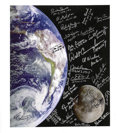 Autographs:Celebrities, Twenty-Seven NASA Astronauts including Three Moonwalkers: Signed Color Canvas Photo of the Earth and Moon....