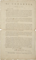 """Autographs:Military Figures, A Resolution by the Second Continental Congress, April 14, 1777 andprinted by John Dunlap. One page, 8"""" x 13"""", Philadel..."""