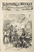 "Autographs:Military Figures, Harper's Weekly Bound Volumes, 1863, full of Civil Warcontent. One bound volume (11.5"" x 15.75"") of the weekly..."