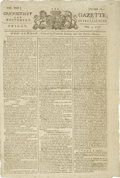 "Autographs:Military Figures, Revolutionary War Newspaper, the Connecticut Gazette; andUniversal Intelligencer, May 3, 1776. Four pages, 10"" x 15""...."