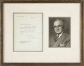 Autographs:U.S. Presidents, Harry Truman Typed Letter Signed... (Total: 2 Items)