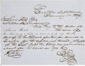 """Autographs:Statesmen, John Ross, Chief of the Cherokee Nation, Autograph Document Signed. One page penned on blue, lined paper, 7.75"""" x 6"""", """"Exe..."""