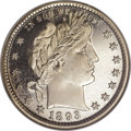 Proof Barber Quarters: , 1893 25C PR67 Cameo NGC. Only 792 proofs were produced in 1893, quite a fall from the substantial mintage of 1,245 pieces s...