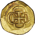 Mexico: , Mexico: Philip V cob 8 Escudos ND (1714-15 type) Mo-J, Cal-type 28,F-6, XF. Although undated, the cross and shield are very strong,...