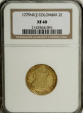 Colombia: , Colombia: Carlos III gold 2 Escudos 1779NR-JJ, KM49.1, XF40 NGC,evenly worn with some small surface marks on the obverse, agedrose-g...