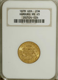 German States:Hamburg, German States: Hamburg. Gold 20 Mark 1878J, KM289, MS65 NGC, fully brilliant, a nice original example....