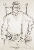 Fine Art - Painting, American:Contemporary   (1950 to present)  , ELAINE DE KOONING (American, 1919-1989). Study of John F.Kennedy, 1963. Charcoal on canvas. 62 x 43 inches (157.5 x109...