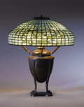 """Decorative Arts, American:Lamps & Lighting, TIFFANY STUDIOS. A """"Geometric"""" Leaded Glass and Bronze Table Lamp, circa 1910. Shade stamped: TIFFANY STUDIOS NEW YORK 146... (Total: 3 Items)"""