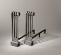 Decorative Arts, American, DONALD DESKEY (American, 1894-1989). A Pair of Extruded Aluminum and Cast Iron Andirons, circa 1933-1935. Stamped verso: 1... (Total: 4 Items)