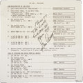 Explorers:Space Exploration, Apollo 17 Lunar Module Flown Lunar Rover Malfunction ProceduresChecklist Card Signed by and from the Personal Collection of M...