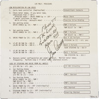 Apollo 17 Lunar Module Flown Lunar Rover Malfunction Procedures Checklist Card Signed by and from the Personal Collectio...