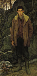 Fine Art - Painting, American:Modern  (1900 1949)  , FRANCIS LUIS MORA (American, 1874-1940). The Woodsman (WilliamCompton), circa 1913. Oil on canvas. 84 x 41-3/4 inches (...