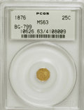 California Fractional Gold: , 1876 25C Indian Octagonal 25 Cents, BG-799, At least High R.6, MS63PCGS. PCGS Population (26/35). NGC Census: (0/3). (#1...