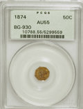 California Fractional Gold: , 1874 50C Liberty Octagonal 50 Cents, BG-930, R.5, AU55 PCGS. PCGSPopulation (2/35). (#10788). From ...