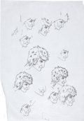 Music Memorabilia:Original Art, The Who - John Entwistle Rod Stewart Preliminary Sketch Group of 5(undated).... (Total: 5 Items)