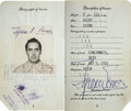 Movie/TV Memorabilia:Autographs and Signed Items, Tyrone Power's Passport....