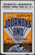 "Movie Posters:War, Journey's End (Tiffany, 1930). Window Card (14"" X 22""), Still (8"" X9.75"") and Program (Multiple Pages). War.... (Total: 3 Items)"