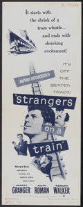 """Movie Posters:Hitchcock, Strangers on a Train (Warner Brothers, R-1957). Insert (14"""" X 36""""). Hitchcock...."""