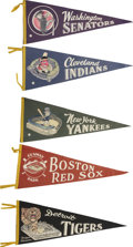 Baseball Collectibles:Others, Vintage Baseball Pennants Lot of 5.... (Total: 5 items)