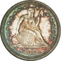 Seated Quarters, 1877-S 25C Over Horizontal S MS63 NGC....