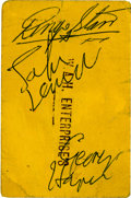 Music Memorabilia:Autographs and Signed Items, Beatles Signed Ticket (1963)....