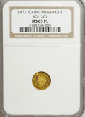 California Fractional Gold, 1872 $1 Indian Round 1 Dollar, BG-1207, R.4, MS65 Prooflike NGC.NGC Census: (1/0). (#710952)...