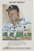 Autographs:Others, Mickey Mantle Signed Insurance Card....