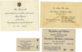 Movie/TV Memorabilia:Memorabilia, Lana Turner's Invite to FDR's 1941 Birthday Celebration andLuncheon with the First Lady.... (Total: 4 Items)
