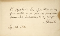 "Abraham Lincoln Endorses His Chiropodist in an Autograph Statement Signed ""A. Lincoln"", one page, 6"" x 3..."