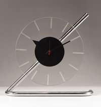 "GILBERT ROHDE (American, 1894-1944) ""Z-clock"" A Chrome Plated Metal and Glass Table Clock, model no. 4090, man..."